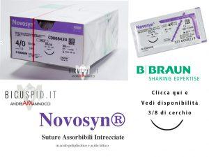 Novosyn suture assorbibili intrecciate tre ottavi di cerchio, 3/8 di cerchio