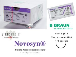 Novosyn suture assorbibili intrecciate 1/2 cerchio, mezzo cerchio